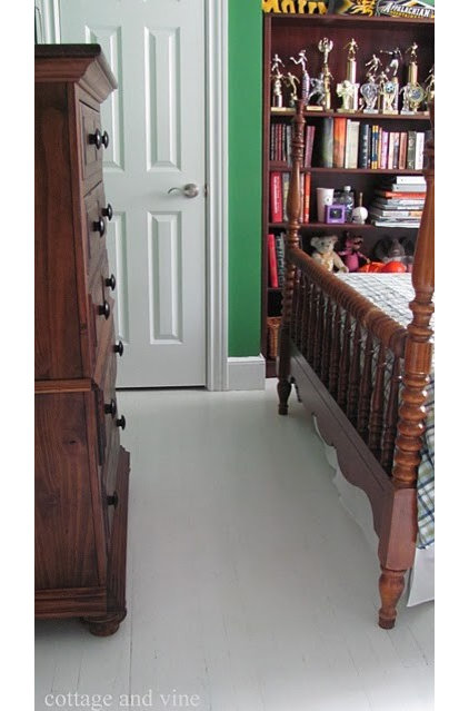 Eclectic Bedroom Painted Floors