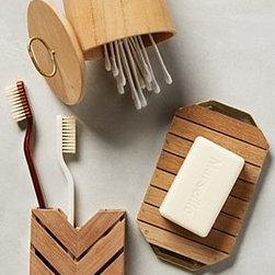 Anthropologie - Teak Bath Collection - Teak, iron. Wipe clean. Imported