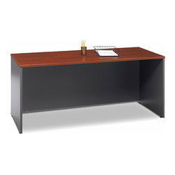 Bush Business - 72 in. Cherry Top Credenza - Series C - This Credenza desk can be used as a free standing desk or attached to another desk.  Supplied with a scratch and stain resistant Diamond Coat surface, this desk looks great and even hides your wires and cables with its modesty panel. * Diamond Coat� top surface is scratch and stain resistant. Free-standing or mounts as right or left return. Desktop & modesty panel grommets for wire access. Accepts Keyboard Shelf or Pencil Drawer. Accepts 71 Hutch. Durable PVC edge banding protects from bumps and collisions. 70.984 in. W x 23.346 in. D x 29.842 in. H