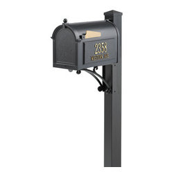 Whitehall Products LLC - Superior Mailbox Package - Black - Superior Mailbox Package - Black - Includes: Capital Mailbox Deluxe Post with Brackets and Post Cap Personalized Side Plaques (2)