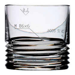 Bomma - m80x6 Collection 11 oz Crystal Whiskey Tumbler - Set of 2 - et of 2 - The m80x6 11 oz. crystal whiskey tumbler will remind you of the sharp engineering found in a skilled craftsman's tools. Studio Koncern Design created pieces with a deep spiral cup resembling the thread of a bolt. The technical details of their sizes in the sandblasted finish intentionally show engineering symbols hence lending its name to the entire collection. The combination of the finest crystal and the engineering symbols create an area for unique aesthetics, which can only be achieved by the classic cut and sandblast technologies.