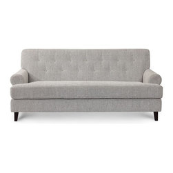 Hathaway Sofa in Grey Tweed, Light Grey - Classically, modern lines with low rolled arms and tufted back detailing, the Hathaway was inspired by the timeless style of English drawing rooms. Elegant and gentle piping and solid hardwood feet details makes the Hathaway perfect for any room