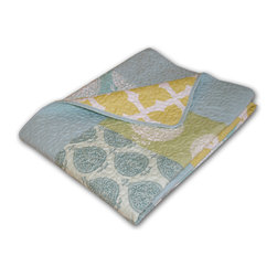 None - Avalon Multicolored Quilted Patchwork Throw - Lend vintage charm to your living space with this darling quilted throw,crafted with soft microfiber and filled with cotton for warmth and comfort. Pastel leaf and quatrefoil patterns are arranged in a patchwork design to create this reversible throw.