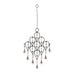 """Benzara - Bell Wind Chime with Unique Pattern Design - Bell Wind Chime with Unique Pattern Design. Distinctively designed with elegant features, this metal bell wind chime is sure to adorn your home with grandeur. It comes with a dimension: 10""""W x 1""""D x 24""""H."""