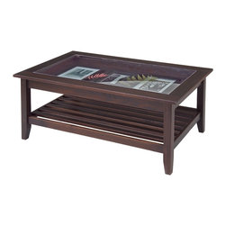Glass Top Display Coffee Table by Manchester Wood - Featuring a glass top to showcase prized possessions or collectables, this beautifully crafted American solid ash coffee table also sports incredibly durable and thoughtful design that adds refinement to any setting.