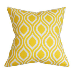 "The Pillow Collection - Poplar Geometric Pillow Yellow 20"" x 20"" - Keep your living space inviting and attractive with this decor pillow. This statement piece presents a geometric pattern in bright yellow and white shades. Fresh and eye-catching, this square pillow fits most furniture, including the sofa, bed or seat. This accent pillow is made with 100% soft cotton material and crafted in the USA. Hidden zipper closure for easy cover removal.  Knife edge finish on all four sides.  Reversible pillow with the same fabric on the back side.  Spot cleaning suggested."