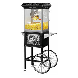 None - Full-size Carnival Style 8-oz Hot Oil Popcorn Machine with Cart - Create irresistible theater-style popcorn with this popcorn machine. This machine features a stainless-steel hot oil kettle with a built-in stirring system.