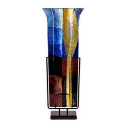 Bronze Age - Blue and Gold Fused Glass Vase Display - This gorgeous Blue and Gold Fused Glass Vase Display has the finest details and highest quality you will find anywhere! Blue and Gold Fused Glass Vase Display is truly remarkable.