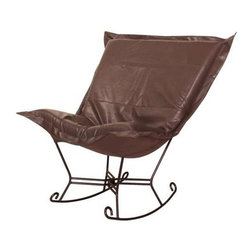 Howard Elliott Avanti Pecan Scroll Puff Rocker - Mahogany Frame - Nouveau Riche! The Avanti Puff Chair is the latest and the greatest addition to the Puff Chair line. Add a touch of urban sophistication to any decor with its paneled design and supple leather look and feel, without the expense of owning real leather.