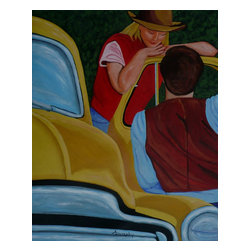 Pickup Lines, Original, Painting - A romantic piece with a western theme. The title uses a double meaning. There are the lines of the truck and the lines the young man is using on the girl in the cowboy hat. This painting is done in acrylics on durable canvas paper. It is 50X40 cms or 20X16 inches in size.