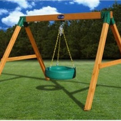 Gorilla Free Standing Tire Swing - The traditional tire swing was always a worn-out tire under an old tree, but today we can update our classics with industry-standard design and construction giving us the Gorilla Free Standing Tire Swing. The unique A-frame design will fit in most backyards, and the rugged 4 x 6 main beam will support up to 125 lbs. The entire structure is held upright by four 4 x 4 posts set into powder-coated steel brackets to give the design maximum strength and durability. A high-end finish on the metal components is one of the strengths of the design, making them resistant to weather and corrosion. Even the tire is roto-molded out of plastic, giving you the very best finish you can find. Plastic-coated chains mean added safety and improved appearance. No more tired Michelins hanging from rusty chains under dying trees.Additional Features:Heavy-duty cedar resists rot and insectsSupports up to 125 lbs.Plastisol-coated chains means safety for little fingersPowder-coated brackets resist corrosionFreestanding design doesn't require stakes or footingsIncludes assembly instructions and necessary hardwareAbout Gorilla PlaysetsSince 1992, Gorilla Playsets has been designing and selling ready-to-assemble playsets. With a reputation for providing excellent customer service, Gorilla Playsets conveniently provides customers with affordable playsets including quality wood components, sturdy playset accessories, all necessary hardware, and clear instructions. Gorilla Playsets always keeps safety in mind while creating inventive, durable products that provide children with myriad possibilities for fun and play.