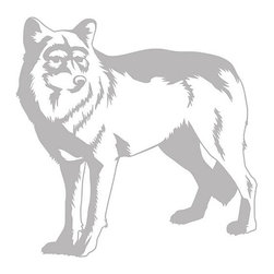 None - Wolf Sudden Shadows Wall Decal - Decorate with this transparent image that coordinates with any decor. Your wall color will show through leaving this decorative Wolf decal visible.