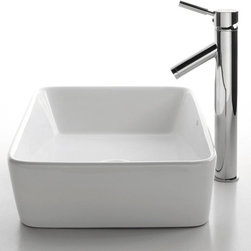 Kraus - White Rectangular Ceramic Sink and Sheven Faucet (Chrome) - Finish: Chrome