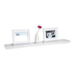 Welland - Trenton Wall Shelf - The look of crown molding gives this floating wall shelf an elegant, polished feel and makes it a perfect display area for artsy photographs or other treasures. The extended space provides the perfect showcase for your collection of vintage teacups and leaves plenty of room for the sugar jar and silver spoon.
