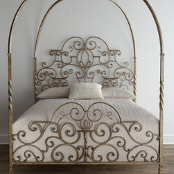 "Horchow - Tuscany Queen Canopy Bed - BLACK RUST - Tuscany Queen Canopy BedDetailsBed made of iron.65""W x 85.5""L x 91""T.Imported.Boxed weight approximately 329 lbs. Please note that this item may require additional shipping charges."