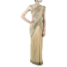 Beige floral tile banarasi sari available only at Pernia's Pop-Up Shop.