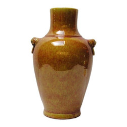 "Golden Lotus - Chinese Yellow Glaze Fu Dog Accent Ceramic Vase - Dimensions:   Dia 8.5"" x h14"""