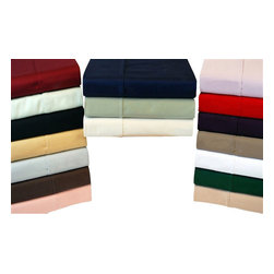 Bed Linens - Egyptian Cotton 300 Thread Count Solid Split King Sheet Sets Navy Blue - 300 Thread Count Solid Split King Sheet Sets