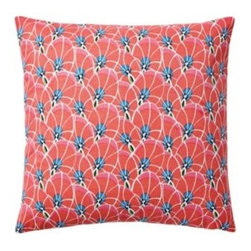 Serena & Lily - Palm Leaf Pillow Cover Bright Coral - With a botanical print as our starting point, we exaggerated some elements to come up with a pattern that's funky and fun. A bright palette of coral, sapphire and white gives it the color pops we crave.