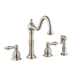 "Belle Foret - Belle Foret BFN12001SS Stainless Steel  Double Handle ADA Compliant - 4 Hole Installation ADA Compliant Kitchen Faucet with Matching Spray  1/2"" IPS inlet 10 3/4"" Spout Height 7 5/16"" Aerator Clearance 9 1/2"" Spout Reach 2"" Maximum Deck Thickness 1/4 Turn Ceramic Cartridge Metal Lever Handles Matching Spray ADA compliant"