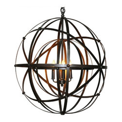 NOIR - NOIR Furniture - Alchemy Chandlier in Metal - LAMP353 - Natural and simple designs, Noir products supply a timeless complement to a variety of interiors. The Alchemy chandelier offers the transitional dining room or living room a bold industrial statement. Metal lines wrap around the light fixture in an intoxicating open orb, offering the alluring piece geometric influence. Accepts 60W max bulb (not included). Includes canopy.