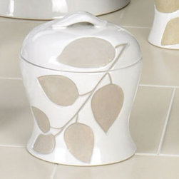 Creative Bath Products - Shadow Leaves Jar Multicolor - SHL25 - Shop for Decorative Canisters and Jars from Hayneedle.com! Choose the Shadow Leaves Jar to add a hint of sophistication and style to your bathroom. With contoured sides and a lid with handle this jar has a glossy white finish with debossed sand-blasted leaves. It is made of durable ceramic and is suitable for any decor. Coordinating accessories are available.About Creative BathFor over 30 years Creative Bath has developed innovative stylish bathroom decor items. They have grown exponentially and now you can find their products in major retail and online stores around the world. From shower curtains to soap dishes and everything in between Creative Bath brings you high quality items to enhance your lifestyle.