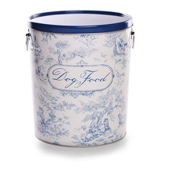 Dog Toile Food Canister - 11 Gallon - An appealing European pattern that mingles a robust sense of age with a fragile delicacy of design, toile takes a roguish spin with the canine customization featured on the Dog Toile Food Canister. Labeled in flowing script, this sturdy recycled steel canister comes complete with a bright aluminum scoop, and its flat lid allows for easy stacking.
