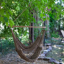 Island Bay Rope Hammock Chair - Put relaxing style anywhere!Bring the relaxing and breezy style of the woven rope of a hammock anywhere you wish with the Island Bay Rope Hammock Chair. Made of soft thick 8mm cotton cord this chair will put you at ease. Hang it from a deck or a ceiling or use it with a stand to make it readily portable. This rope hammock chair is perfect for sunny kicking back - just for you. Available in henna or natural color. Holds up to 249 pounds. The Island Bay Rope Hammock Chair has these great features at an incredible price: Soft-spun 8mm rope cord is the thickest and most durable in the hammock industry 100% cotton hammock chair works indoors or out Hardwood spreader bar varnished with weather-resistant coating 2-year satisfaction guarantee on all Island Bay rope hammocks and hammock chairs Detailed Dimensions: Distance between spreader bar ring hooks: 44 in. Distance between spreader bar and bottom of hammock chair: approximately 35 in. About Island Bay Island Bay brings you well-designed authentic hammocks and accessories from around the world. From the East Coast to the West Indies the hammock is recognized as the ultimate getaway so we've dedicated ourselves to getting it right. You'll find eye-catching colors and patterns comfortable outdoor designs and heavy-duty stands designed to keep you swinging peacefully. It's your world ... relax in the real thing.