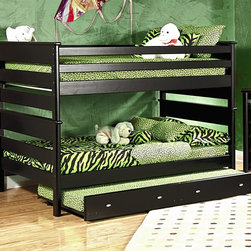 Chelsea Home - 78 in. Full Over Full Bunk Bed - NOTE: ivgStores DOES NOT offer assembly on loft beds or bunk beds.. Includes slat packs, trundle and 5 in. Bunkie mattress for trundle unit. Mattresses not included. Rustic style. Trend-loc ends for added strength. 4 in. lag blots are utilized to assemble parts with a recessed end for safety. Exceed the ASTM standard consumer safety specifications. Can holds up to 400 lbs. of distributed weight. Rounded edges for strong and safe youth furniture with Baltic birch plywood filler panels for a smooth feel and finish. Warranty: One year. Made from solid ponderosa pine wood. Black cherry finish. Made in USA. Assembly required. 78 in. L x 60 in. W x 61.5 in. H (320 lbs.). Bunk Bed Warning. Please read before purchase.Warning: Falling hazard, bunk beds should be used by children 6 years of age and older!