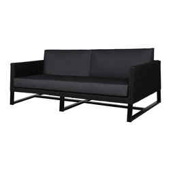 Mama Green - Baia Sofa, Black, 2-Seater - The Baia sofa series combines a synthetic hyacinth weave with powder coated aluminum framing and Sunbrella cushions. The Sunbrella cushions have batyline sling by Ferrari woven into the base of both the seat and backrest to help pass moisture through the quick dry foam cushions faster, preventing the possibility of mold or mildew from rapidly forming.