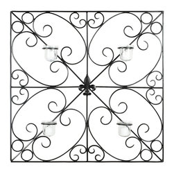 Safavieh - Votive Wall WDC1005A - The geometry of this square votive wall piece gets softened by the subtle sweep of wrought iron scrolls. A fleur de lis medallion at the heart of the sconce and four glass candle holders are the final flourishes.