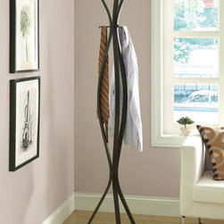 Monarch - Cappuccino Metal 72-inch Coat Rack - Store your outerwear on this five-hook coat rack. A cappuccino finish and curved design completes this stylish coat rack.
