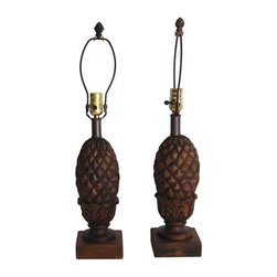 Pre-owned Pineapple Lamps - A Pair - This pair of pineapple lamps would be incredibly charming in a tropical inspired home on a console table or as bedside lamps. If you like Pi̱a Coladas, you will definitely get along well this pair rewired and freshly stained pair. Just think of the fun you'll have finding the perfect lamp shades to top off these awesome bases!