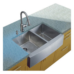 Vigo Industries - Platinum Farmhouse Stainless Steel Kitchen Sink Set with Strainers - Includes stainless steel kitchen sink, stainless steel kitchen faucet, two strainers and stainless steel soap dispenser and all mounting hardware