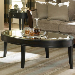 Homelegance - Homelegance Brooksby Oval Mirrored Cocktail Table in Cherry - The classic era of mid-century American glamour is celebrated in the Brooksby Collection. Streamlined design is paired with mirrored tabletops  an ebonized cherry finish and satin nickel hardware. Drawer and display storage add functionality to this modern-classic occasional collection.