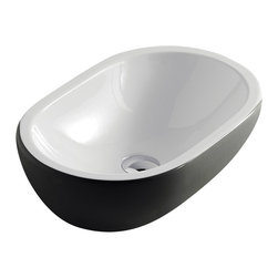 Maestrobath - Midas Modern Ceramic Vessel Sink, White Black - Give your bathroom an updated, stylish look with this oval ceramic ultra modern vessel sink. This luxury bathroom sink, Midas, is available in eleven different colors suitable for any powder room. This modern sink is easy to install and maintain. Maestrobath ceramic vessel sink line is ADA Compliant. Whether your decorating style is traditional or modern, Maestrobath products will compliment your home improvement project and add a lavish, luxurious feel while protecting your health, safety and the environment.