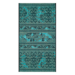 """Safavieh - Blaze Rug, Black / Turquoise 2' X 3'6"""" - Construction Method: Power Loomed. Country of Origin: Turkey. Care Instructions: Vacuum Regularly To Prevent Dust And Crumbs From Settling Into The Roots Of The Fibers. Avoid Direct And Continuous Exposure To Sunlight. Use Rug Protectors Under The Legs Of Heavy Furniture To Avoid Flattening Piles. Do Not Pull Loose Ends; Clip Them With Scissors To Remove. Turn Carpet Occasionally To Equalize Wear. Remove Spills Immediately. Elegant Old World velvet motifs make a fashion statement for the floor in PALAZZO. A rich vintage look is achieved with a combination of lustrous and matte yarns in polypropylene and natural jute, and textural chenille for velvety pattern dimension."""