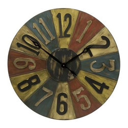 Clarke Game Piece Wall Clock - In bright primary shades, the Clarke game piece wall clock has the retro look of classic toys from days of the past. It will definitely add color to your walls and a conversation piece to your home.
