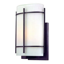 Dolan Designs - Dolan Designs 9301 1 Light Ambient Light Small Outdoor Wall Sconce from the Paci - Dolan Designs 9301-34 Pacifica 1 Light Ambient Light Small Outdoor Wall SconceFeaturing a clean, modern design, this 1 Light Small Outdoor Wall Sconce features an Olde World Iron finish and a simple Satin White Glass Shade. This wall sconce is sure to bring a modern touch to any lighting application.Pacifica is an Asian-inspired design that features an Olde World Iron finish and a simple Satin White Glass Shades. This collection is sure to bring a modern touch to any home.Dolan Designs 9301 Features: