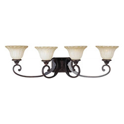 Joshua Marshal - Four Light Oil Rubbed Bronze Wilshire Glass Vanity - Four Light Oil Rubbed Bronze Wilshire Glass Vanity