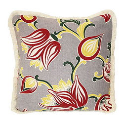 1940s Floral Barkcloth Pillow - In an era when comfort and glamor went hand in hand, floral barkcloth was all the rage. Why not bring it back for your favorite setting? This pillow, fashioned from vintage fabric, boasts a highly unusual pattern and an edge of cotton brush fringe.