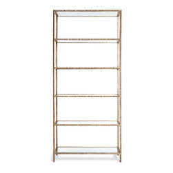 Kathy Kuo Home - Tall Modern Gold Stud -Edged Etagere Display Bookcase - This piece has a certain type of luxurious rock and roll attitude.  Kind of like a Rick Owens jacket -  edgy, but something that feels especially good in Paris.  This six shelf étagère in antique gold has those small pyramid shaped studs usually found around the wrist of a punk rocker or Rottweiler. Luxurious, edgy and perfect.
