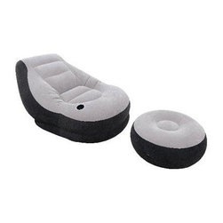 "Intex - Ultra Lounge w Ottoman - Ultra Lounge with ottoman & waterproof flocked top & sides  cupholder too.  The Intex Ultra Lounge set includes a cozy lounge chair and ottoman; Inflates quickly and easily; ?Flocked material and angled backrest make for a comfortable seating surface; Built-in cup holder is great for keeping your drink close by; 2-in-1 Valve with extra wide openings for fast inflating and deflating; Color: Gray/Black; Easy to wipe clean; Chair Dimensions: 39""W x 51""H x 30""D; Ottoman Dimensions: 11""W x 25""H; Materials: Safe and durable PVC and rayon with 20.8 gauge top and sides and 15 gauge vinyl bottom; Est. weight capacity: 220 lbs; Approximate Inflated Weight: 9 Lbs.  This item cannot be shipped to APO/FPO addresses. Please accept our apologies."