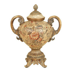Aspire - Ceramic Urn Floral Designs - This beautiful urn features a ceramic body with painted floral patterns. Great for use on any table or mantle top. Ceramic. Color/Finish: Multicolored. 21 in. H x 17 in. W x 13 in. D. Weight: 13 lbs.