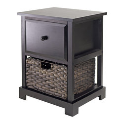 Winsomewood - Casablanca Accent Table with Folding Basket - Storage has never been so handsome. This wood accent table, ideal for your contemporary decor, features a top drawer and a bottom basket to keep necessities in easy reach and clutter under cover.