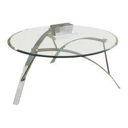 """Steve Silver Furniture - Steve Silver Xavier 3-Piece Glass Top Coffee Table Set with Chrome Base - The futuristic Xavier Collection is reminiscent of 60s contemporary style, for a fun retro look. The Xavier 3-pack occasional table base and tempered glass table top s (sold separately) combine to create three stunning tables _ one cocktail, and two end tables. The 19"""" decorative metal table base pairs with the 40"""" round glass top ; the two 24"""" bases pair with the two 26"""" round glass top s."""
