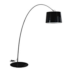 Modway - Liberty Floor Lamp in Black - The Liberty modern floor lamp bends linear movements with a smooth downward flow to bring energy to your space. The lowered bell-shaped shade dips formal elegance into your abode as the acquiescent glow showers it with light. Bask in the created vigor of youthfulness and freshness in a piece destined for excitement.