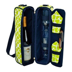 Picnic at Ascot - Wine Carrier for Two, Trellis Green by Picnic at Ascot - Our Wine Carrier for Two in Trellis Green by Picnic at Ascot is a top quality deluxe wine holder with glasses featuring state of the art Thermal Shield insulation to maintain wine at the perfect temperature. The glass compartment can be used to hold a second bottle.