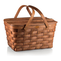 Picnic Time - Prairie Picnic Basket, Natural Wood - The Prairie Picnic Basket is made in the USA of woven wood, with folding handles and a wooden plank lid. Appalachian white ash, solid brass nails, and brass-plated hardware give the basket an all-American look and feel you will love.