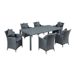 Modway - Modway EEI-836 Panorama 7 Piece Dining Set in Black Black - Take in the scenes with an elongated black rattan table and six black rattan chairs with white cushions. Fill your backyard with an elevated array of dishes, entrees and desserts as your company partakes. Entertain well with this nice, modern and functional set.